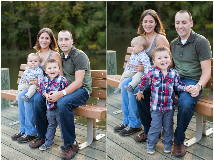Annapolis Lifestyle Photographer - Fare Fall Family Portrait on a dock