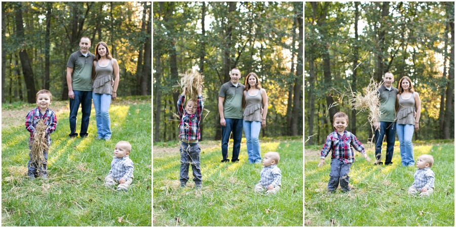 Annapolis Lifestyle Photographer - Fare Fall Family Portrait - hay throw