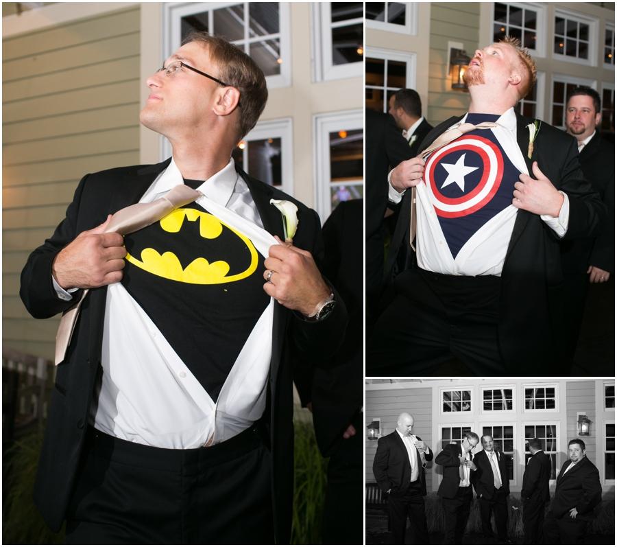 Chesapeake Bay Beach Club Wedding Photographer - Superman Groomsmen