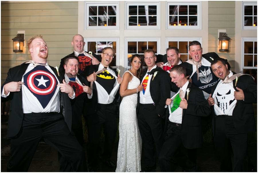 Chesapeake Bay Beach Club Wedding Photographer - Superman Groomsmen Portrait
