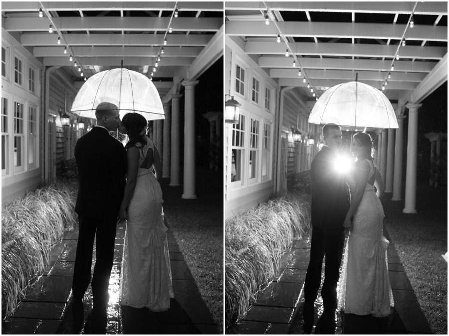 Chesapeake Bay Beach Club Wedding Photographer - Umbrella in the Rain Wedding Photograph