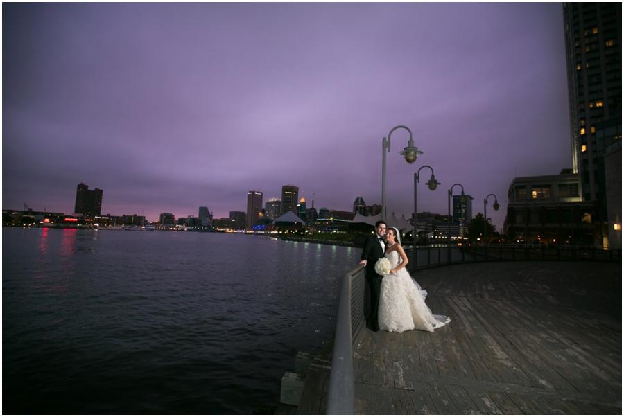 Four Seasons Evening Wedding Photographer - Elizabeth Bailey Weddings - Purple Baltimore Sunset