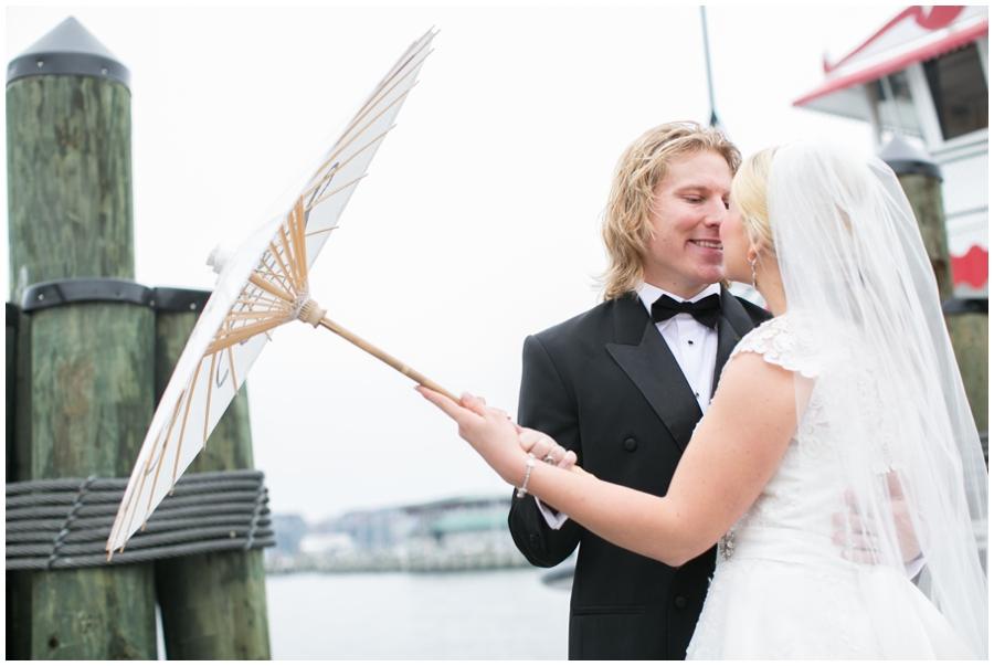 City Dock Annapolis Wedding Photography - Winter Parasol Love Portrait