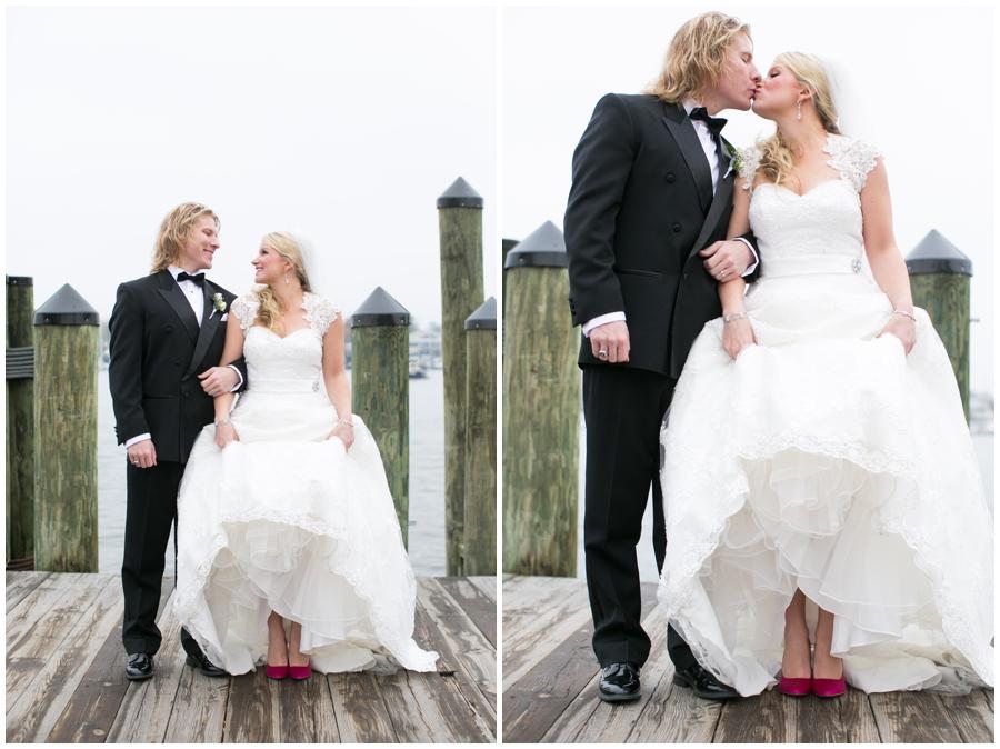 City Dock Annapolis Wedding Photographer - Winter waterfront wedding - pink bridal shoes