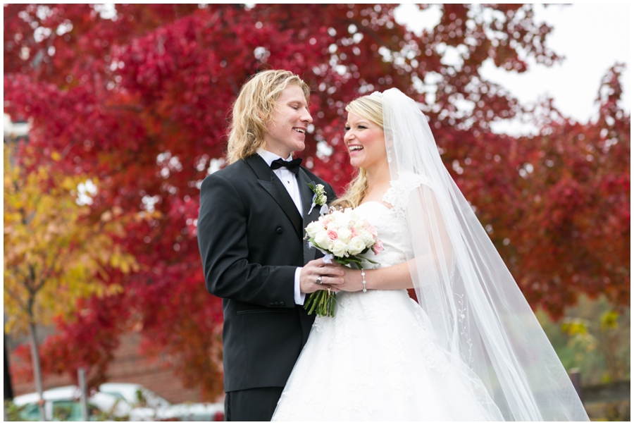 Sheraton Annapolis Winter Wedding Photographer - Red tree love portrait
