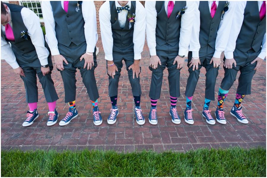 Sunset Crest Manor Wedding - Funky socks Groomsmen Portrait