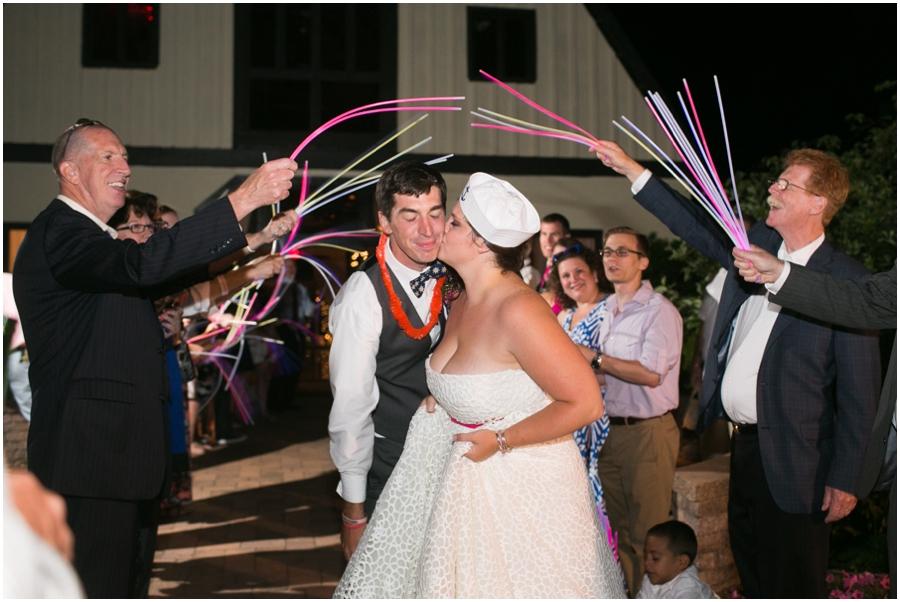 Sunset Crest Manor Barn Reception - VA Wedding Photographer -Glowstick exit