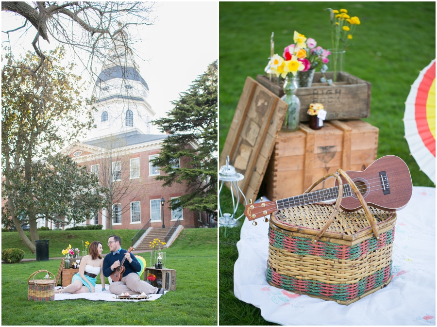 XOXO Vintage Rentals - State House Picnic Engagement Session