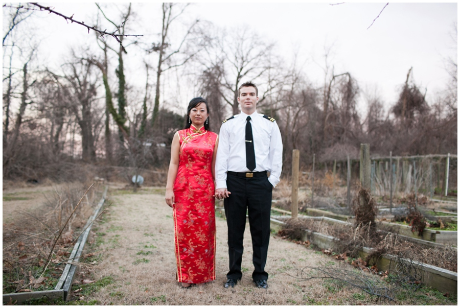 Annapolis Winter Wedding - Cafe Bretton Reception - Quipao Chinese Reception dress