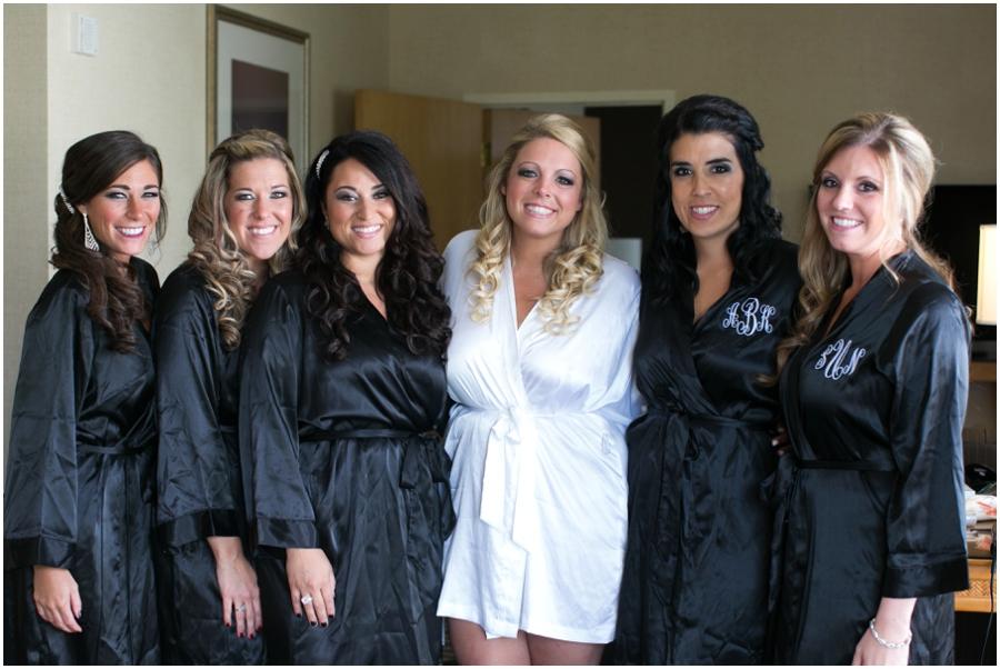 Chesapeake Bay Wedding Photographer - Black and white Bridesmaid Robe