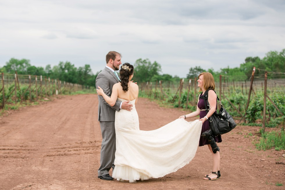 Sand Castle Winery Behind the Scenes wedding photographer in action