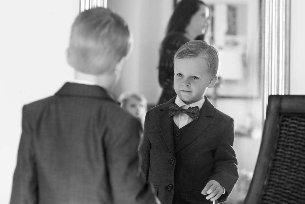 Tidewater Inn wedding photography - Ring bearer bowtie
