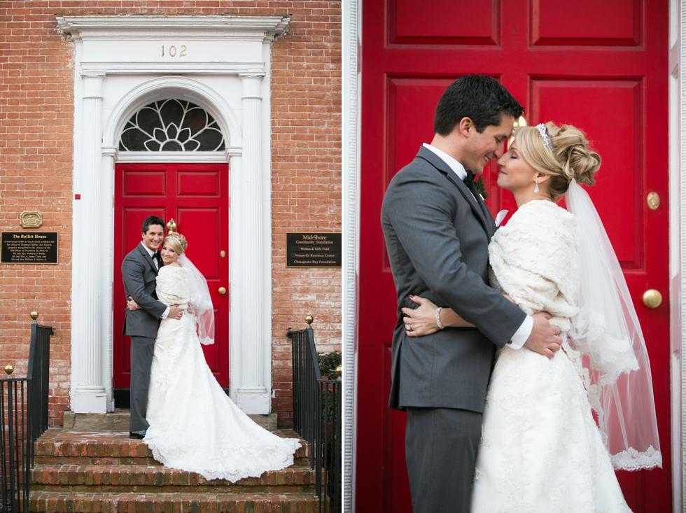 Winter Wedding Photographer - Easton MD Red door