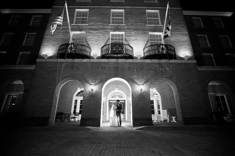 The Tidewater Inn winter Wedding Photographer - Night wedding photo