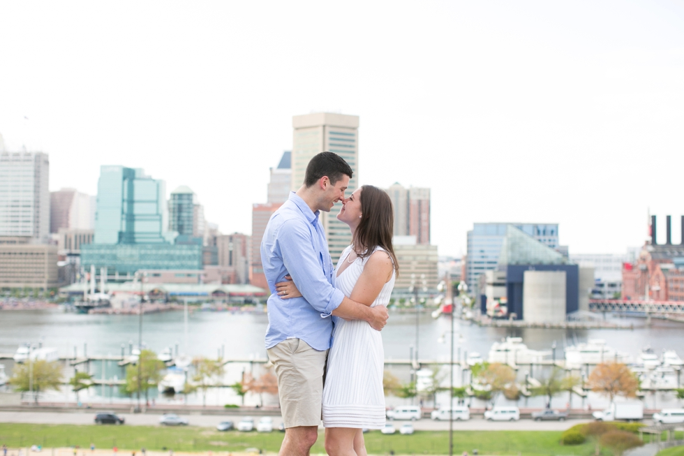 Federal Hill Engagement - Baltimore Skyline