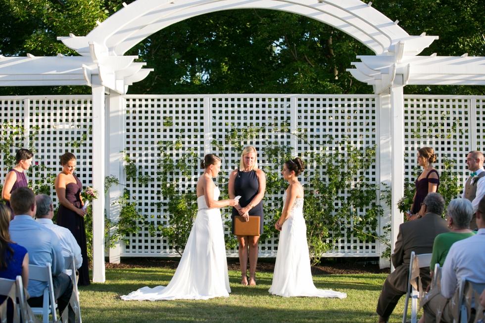 Chesapeake Bay Beach Club Wedding Photographer - Two Brides Shore wedding ceremony