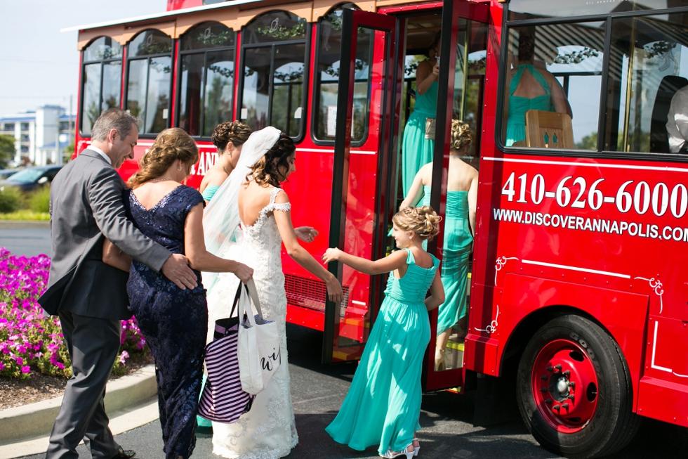 Beach Club wedding photographer - Annapolis Trolley