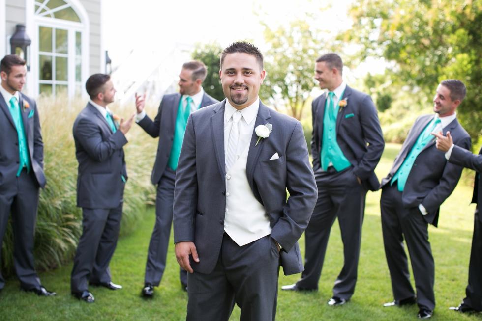 Eastern Shore Wedding Groomsmen - Vera Wang Tux