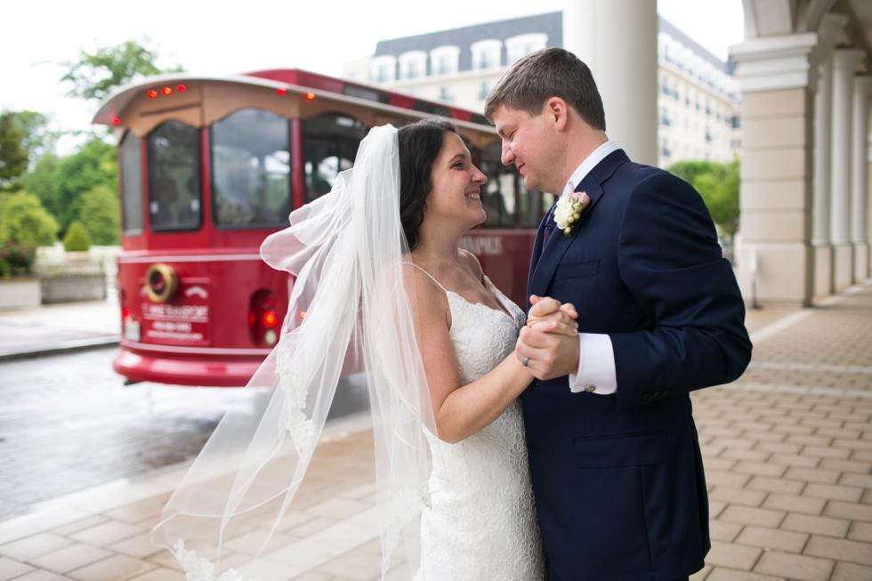 Julie Brent - Annapolis Maritime Museum wedding - Towne Transport Trolley
