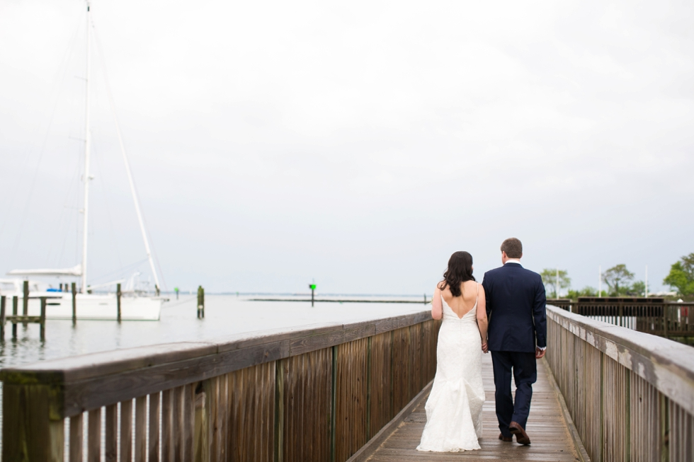 Rainy Annapolis Maritime Museum docks wedding photographs - Sonata by Anne Barge