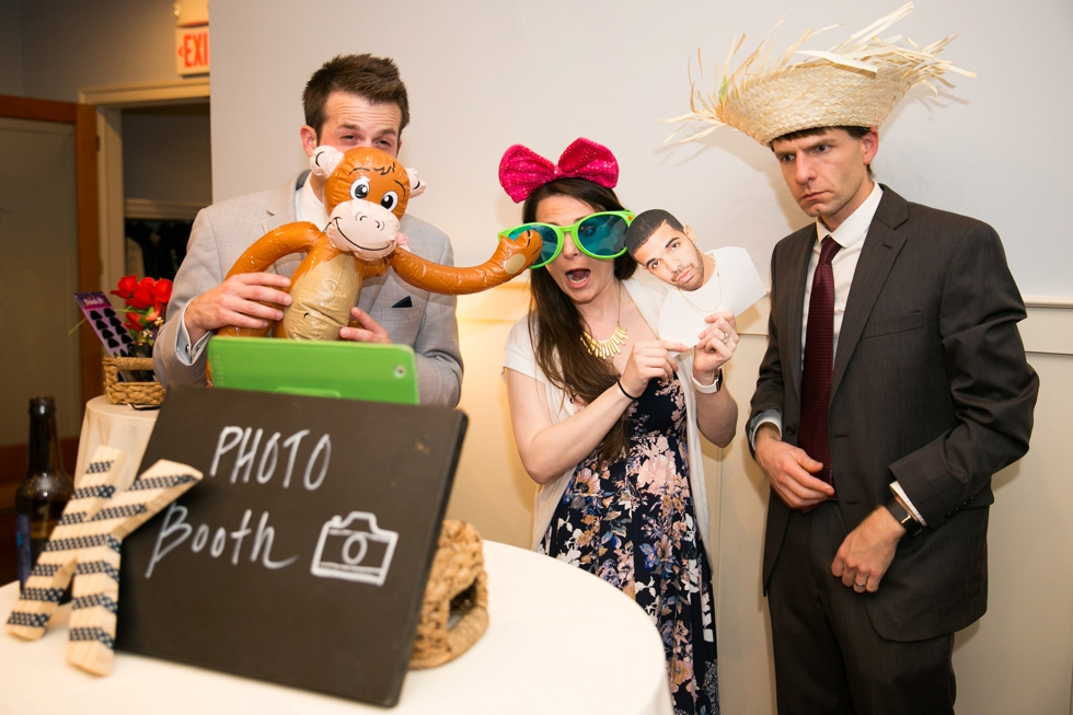 Eastern Shore Chesapeake Bay Beach House rainy wedding reception photo booth