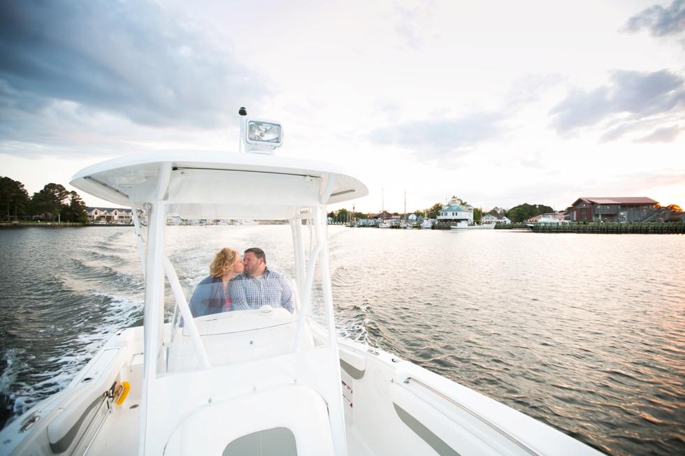 St. Michael's Engagement Photographer - Destination Engagement on a boat