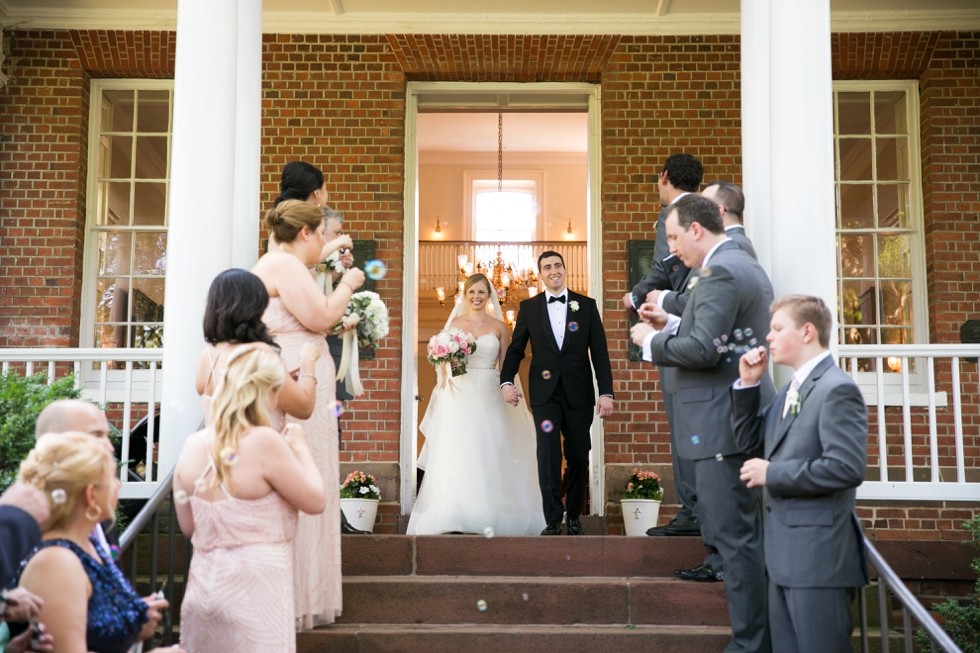 St Johns College McDowell Hall Wedding ceremony - Philadelphia wedding photographers - Bubble exit