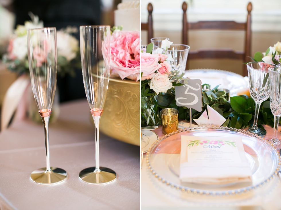 St Johns College Randall Hall Wedding Reception Details - Blossom and Basket Boutique