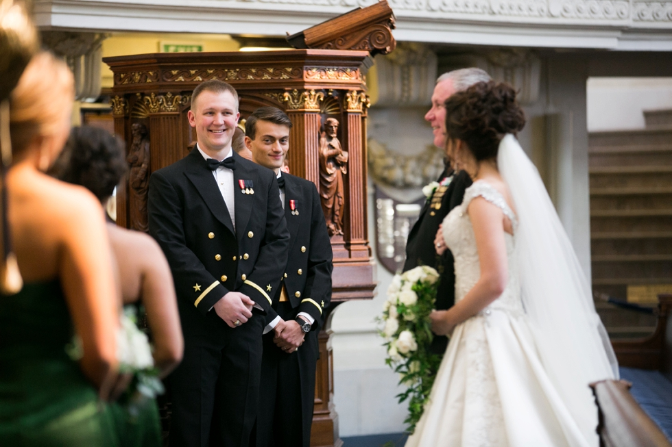 Having a First Look - Wedding Photographers in USNA Chapel
