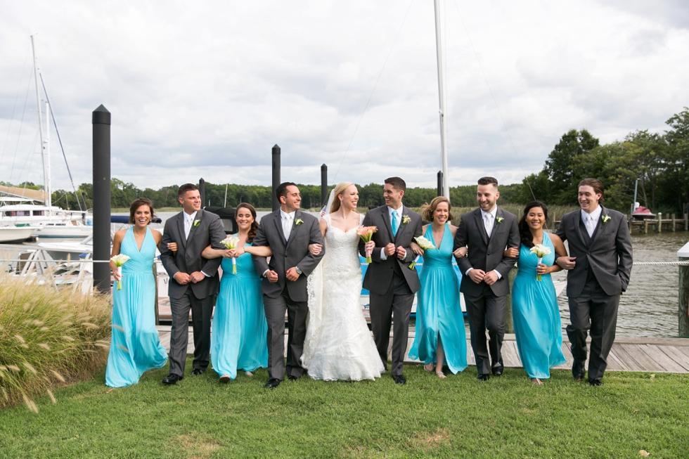 Chesapeake Bay Wedding photographer - Silver Swan Bayside beach wedding party