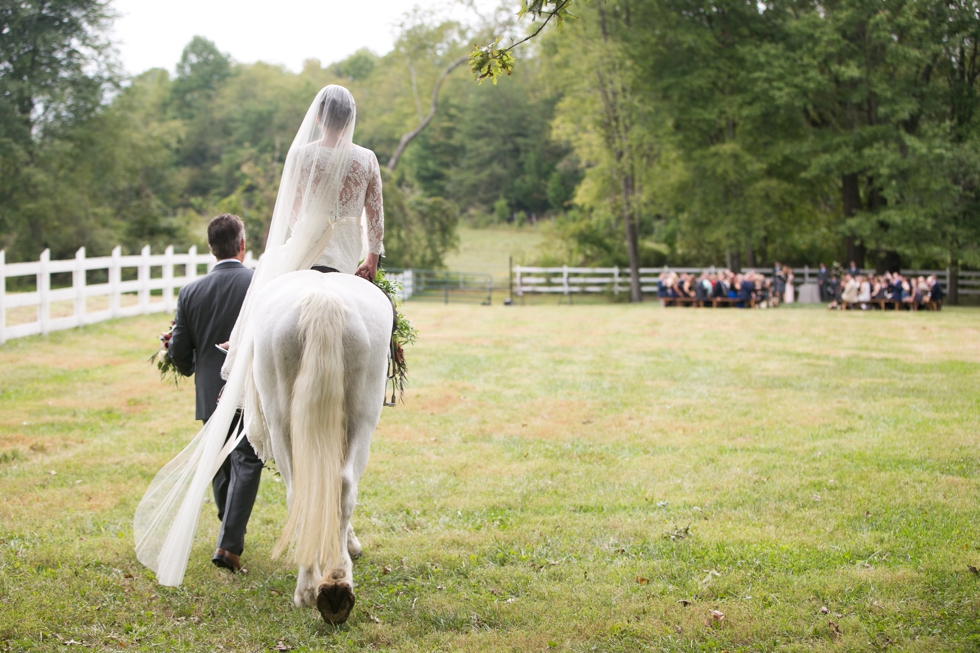 Outdoor Ranch Ceremony Bride on a Horse- Philadelphia Farm Wedding Photography