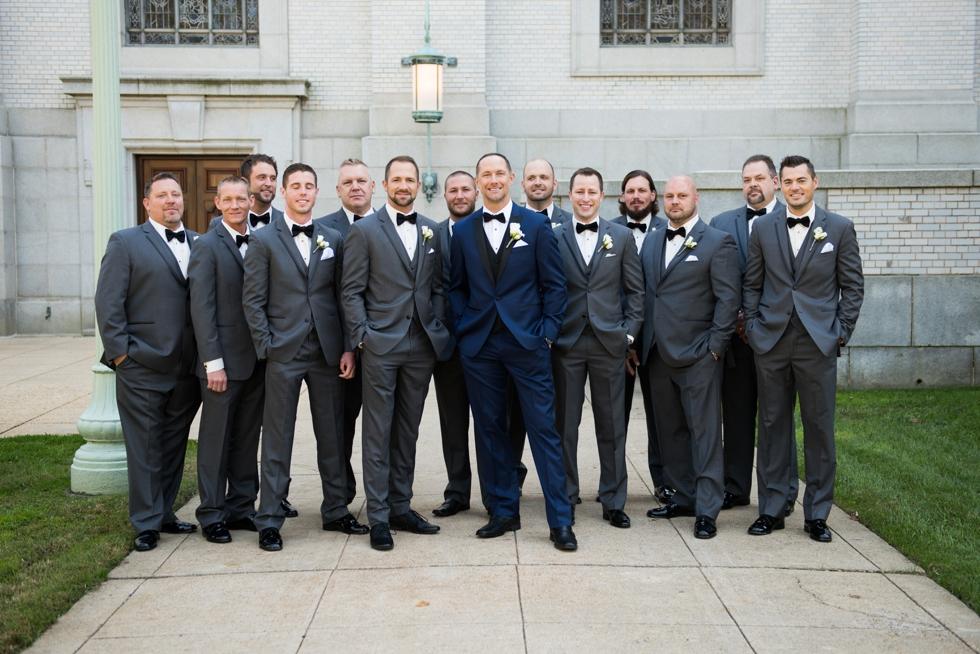 US Naval Academy Buchanan House gardens groomsmen - Jade and David Kircus