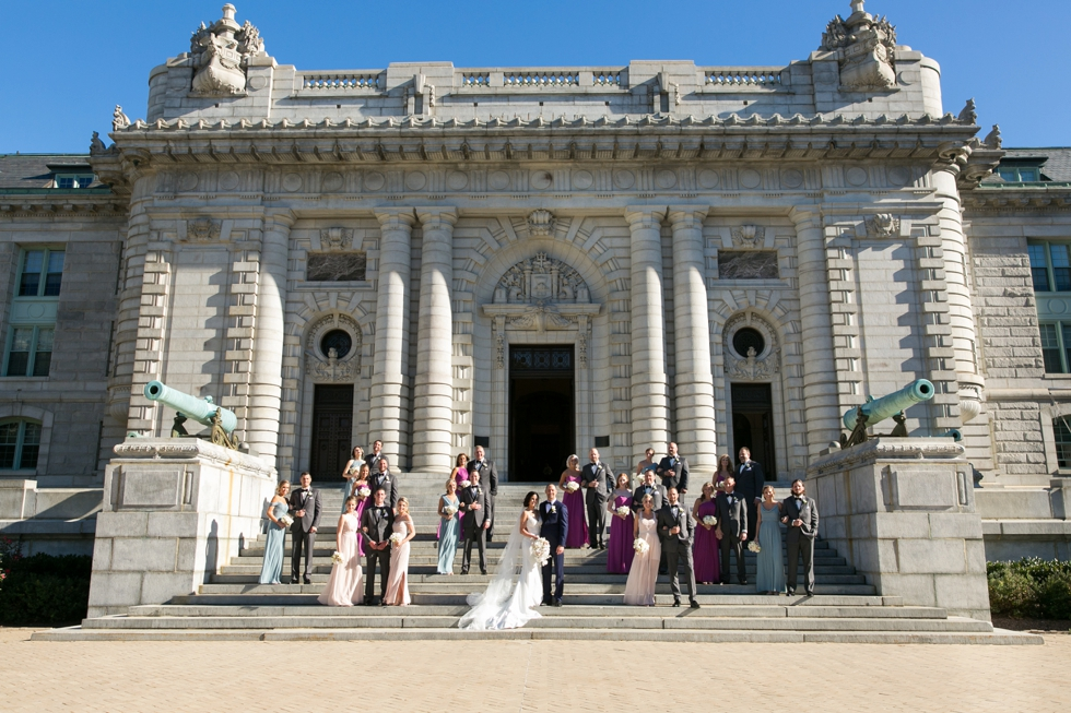US Naval Academy Bancroft Hall wedding party - Pronovias Dress