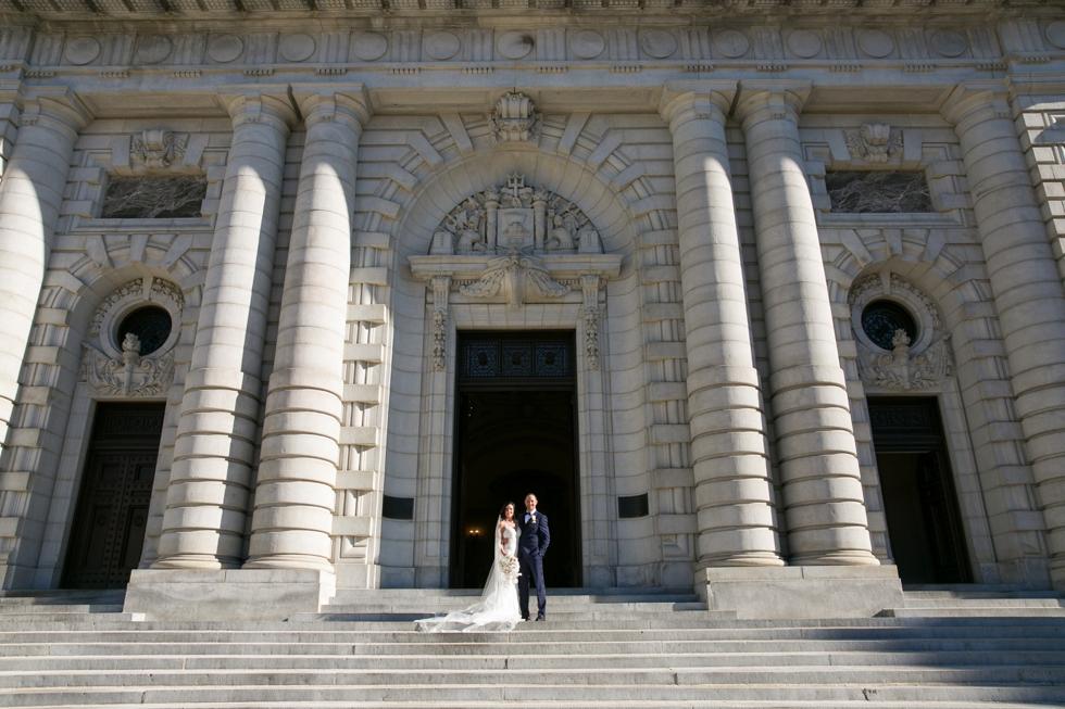 US Naval Academy Bancroft Hall wedding - Pronovias Dress