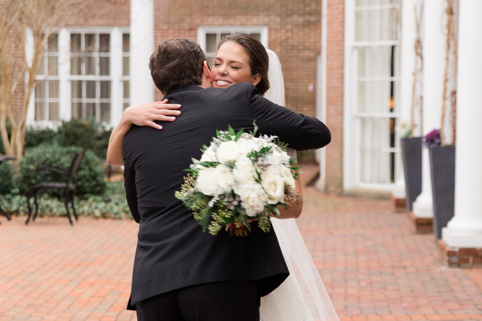 First Look - Tidewater Inn New Years Eve Wedding - Associate Caitlin