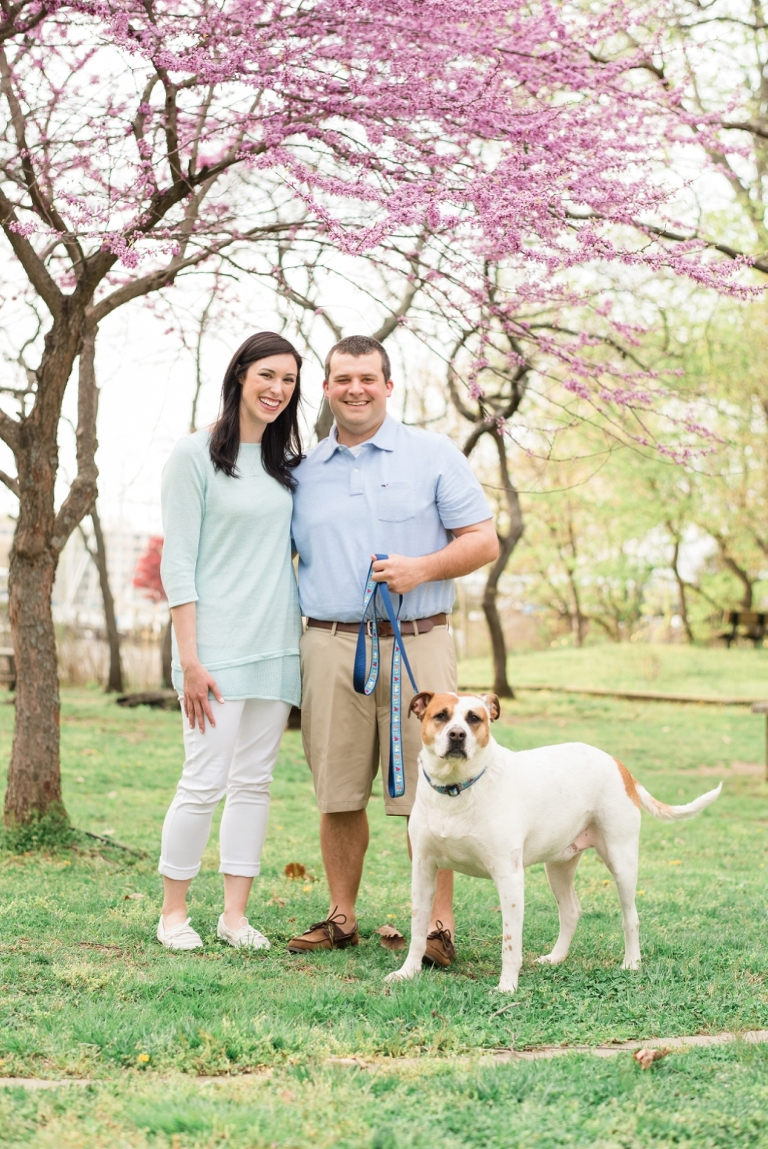Port Annapolis Spring Engagement session - Dog in engagement photos