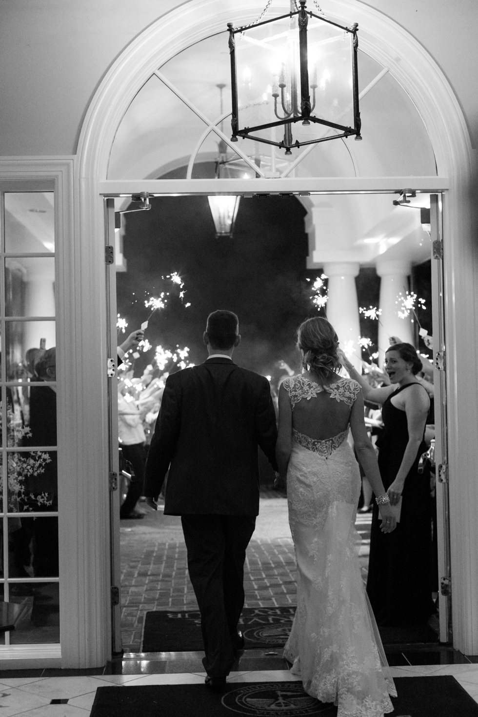 Two Rivers Country Club Wedding sparkler send off - James River Wedding photography