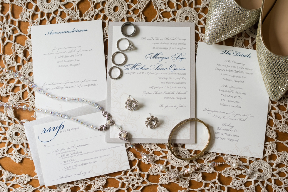 Wedding at Belvedere Hotel in Baltimore, MD - Paper in the Park wedding invitation