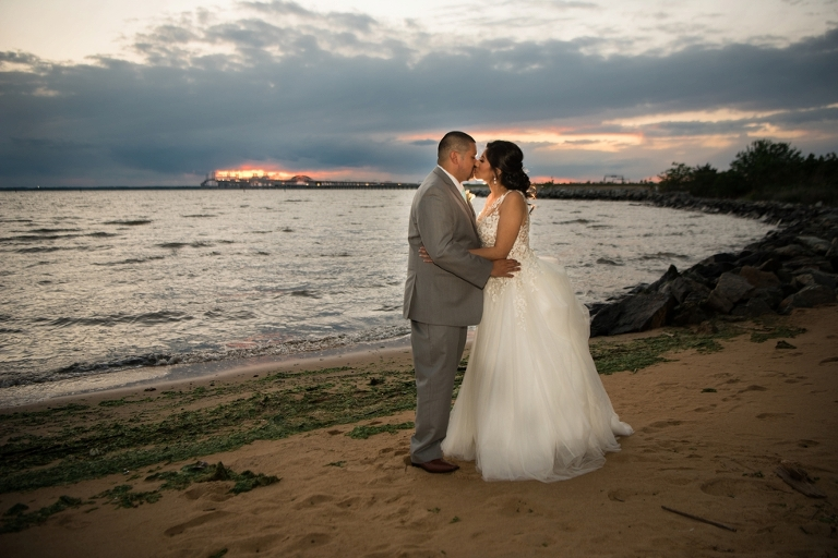 Chesapeake Bay Beach Club Wedding in Tavern Ballroom - Salvadoran Wedding Sunset