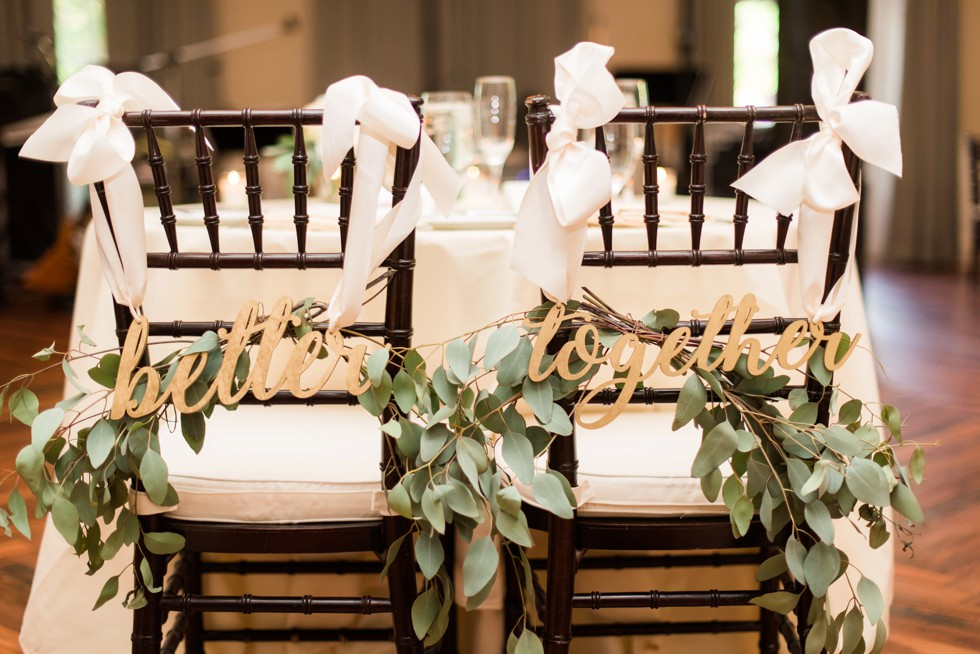 Wedding photo at Tidewater Inn Eastern Shore Maryland - Better Together wedding sign