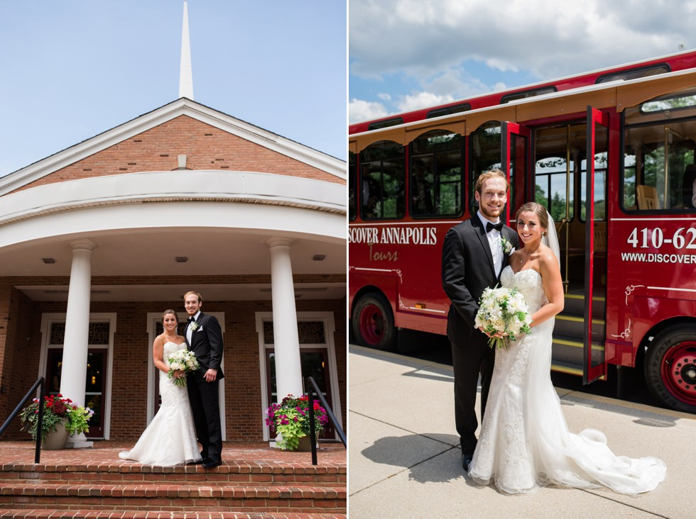 wedding couple on the Annapolis Trolley at the Chesapeake Bay Beach Club