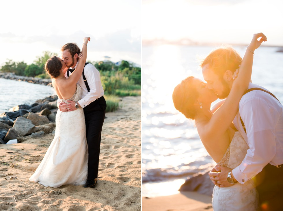Couple on the Beach at sunset for a shore Wedding by Philadelphia wedding photographer
