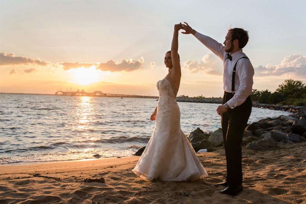 Couple on the beach at sunset - Jersey Shore Wedding Photographs