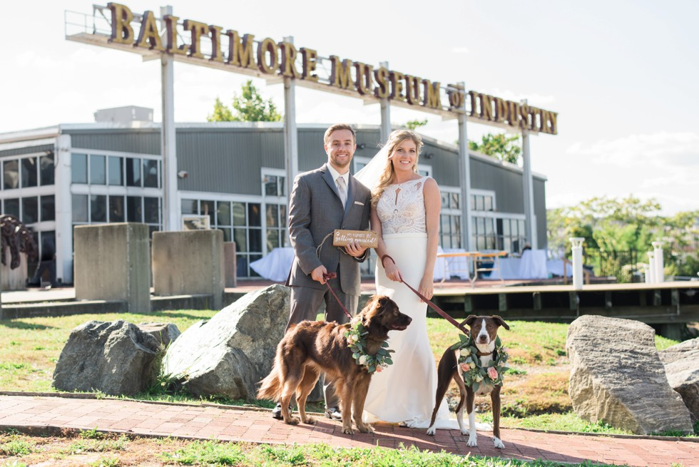 Baltimore Museum of Industry wedding with two dogs