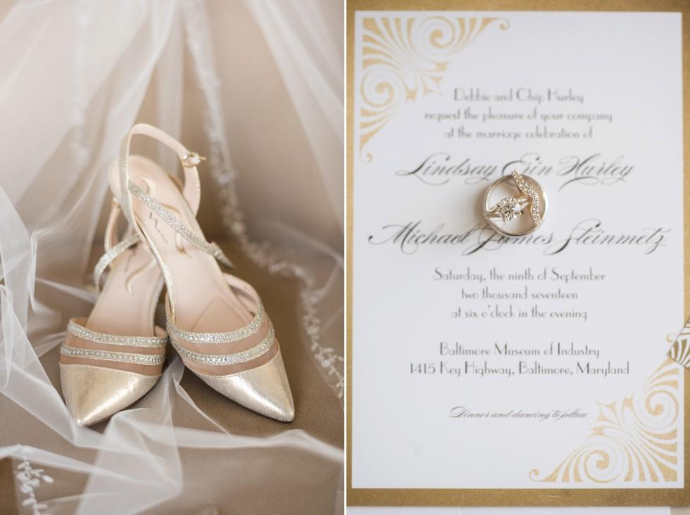 Wedding paper Divas gold wedding invitations - Inhouse Jewelers gold engagement ring