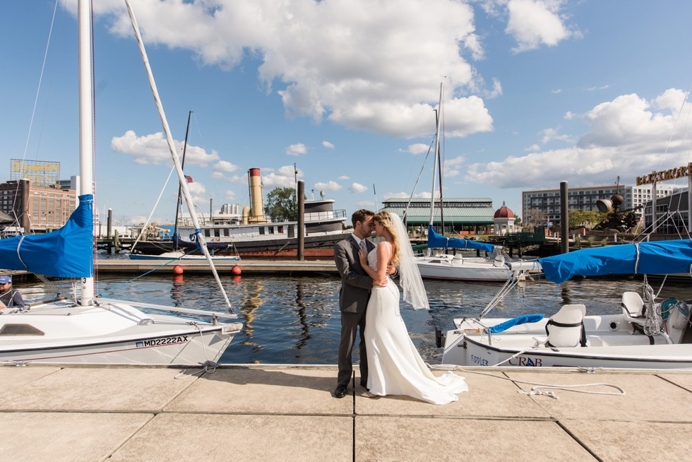 Baltimore Museum of Industry bride and groom wedding portrait on the Baltimore Harbor