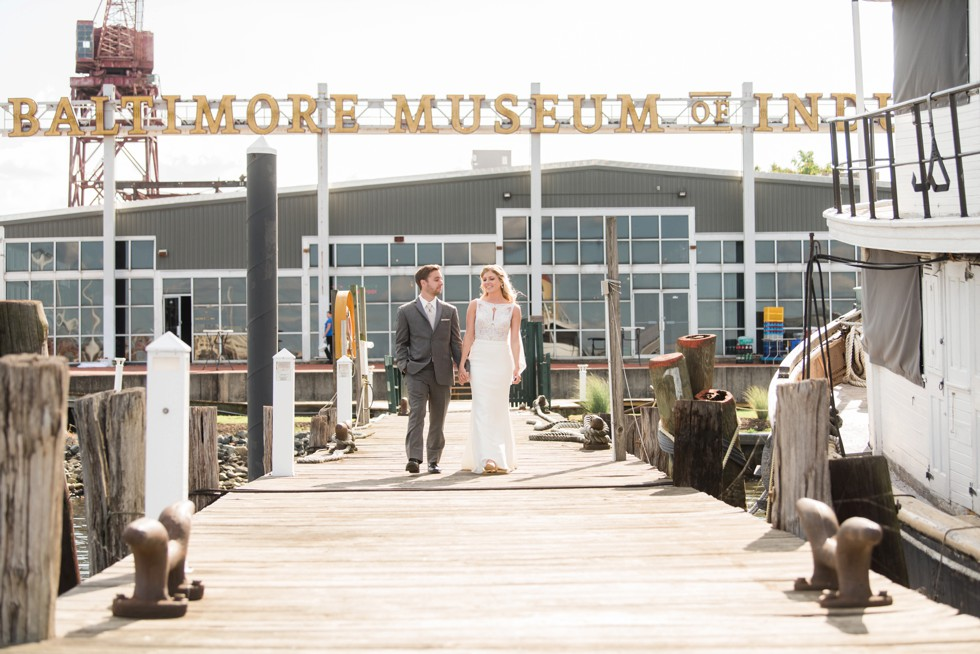 Baltimore Museum of Industry wedding photos overlooking the Domino Sugar Sign