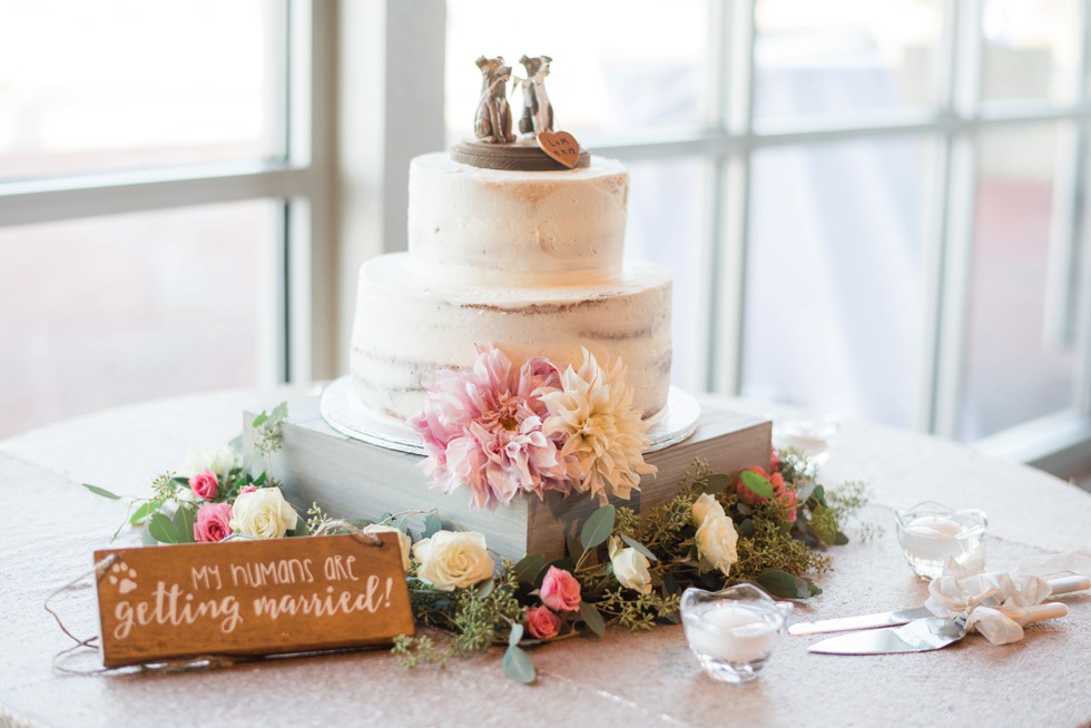 """Naked wedding cake with two dogs toppers """"we do too"""" Scentsational Florals"""