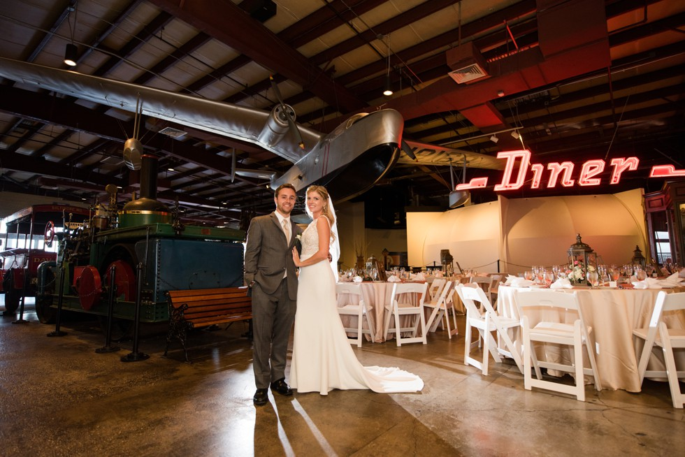 Wedding in front of the airplane at baltimore museum of Industry