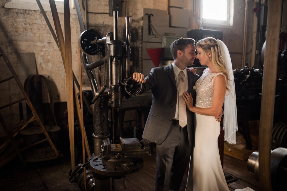 Newlyweds in the steel room at baltimore museum of Industry